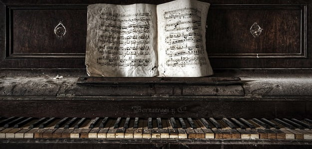 piano old paper abandoned wallpaper preview